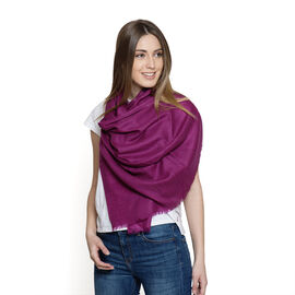 100% Fine Cashmere Wool - Hand Loomed Plum Pink Shawl (Size 200 x 70 Cm)