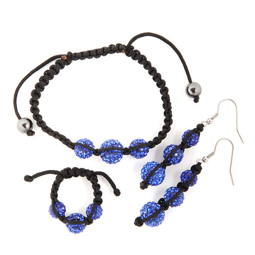 Hematite and Blue Austrian Crystal Hook Earrings, Ring and Bracelet (Adjustable) 10.000 Ct.