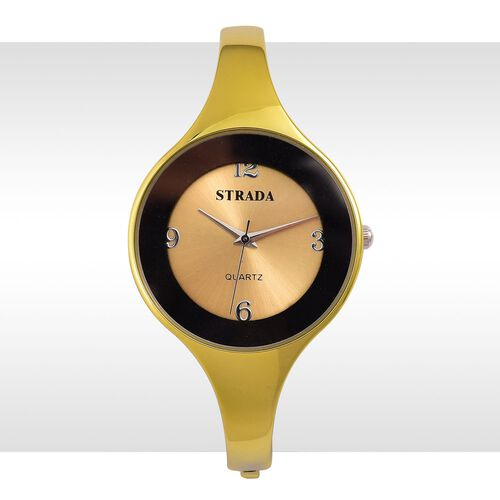 STRADA Japanese Movement Yellow Colour Dial Water Resistant Yellow Gold Colour Bangle Watch in Silver Tone with Stainless Steel Back