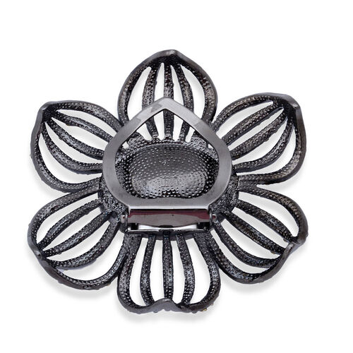 (Option 1) White Glass and White Austrian Crystal Floral Brooch or Scarf Clip in Black Tone