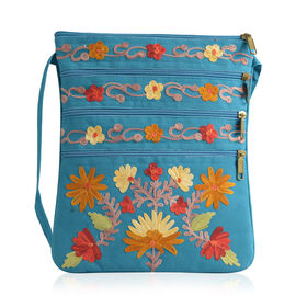 DOD - Hand Embroidered Multi Colour Flower Paisley Pattern Tourquoise Blue Suede Fabric Sling Bag (Size 27x20 Cm)