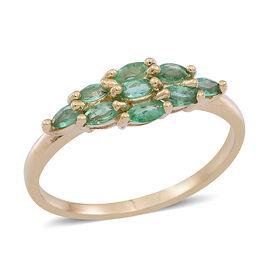9K Y Gold AAA Kagem Zambian Emerald (Mrq) Ring 0.750 Ct.