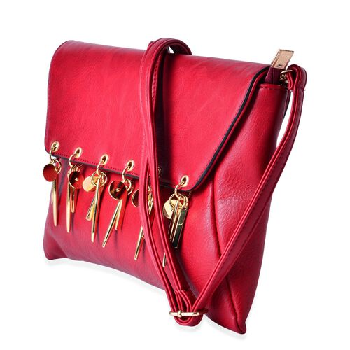 Red Colour Clutch Bag with Adjustable Shoulder Strap (Size 30x20 Cm)
