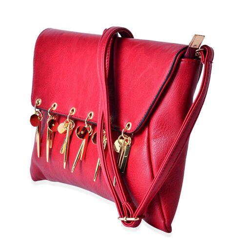 Red Colour Clutch Bag with Adjustable Shoulder Strap (Size 30x20 Cm)