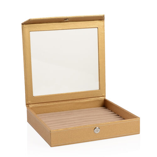 Hand Crafted - Eco Faux Leather Gold Colour 100 Slot Ring Box with Magnetic Closure (Size 24x22 Cm)