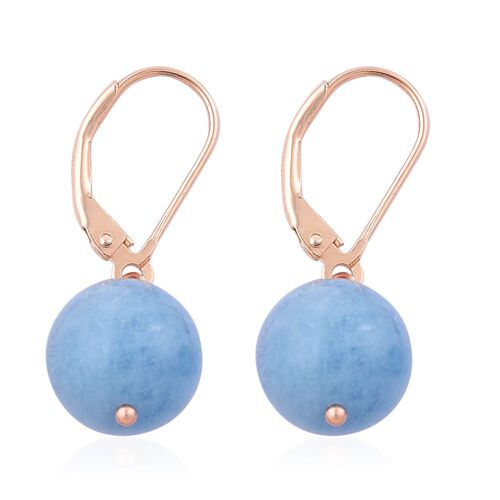 Espirito Santo Aquamarine Lever Back Earrings in Rose Gold Overlay Sterling Silver 15.500 Ct.