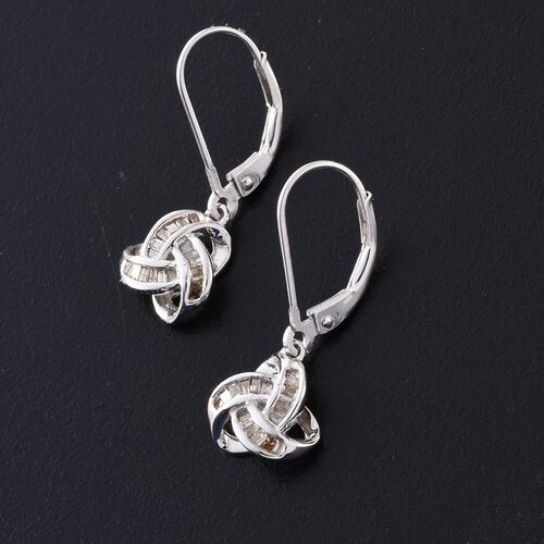 Natural Champagne Diamond (Bgt) Triple Knot Lever Back Earrings in Platinum Overlay Sterling Silver 0.250 Ct.