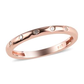 Diamond Button Band Ring in Rose Gold Overlay Sterling Silver