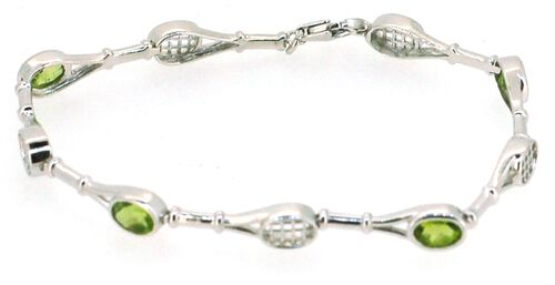 Limited Collection - AA Hebei Peridot (Ovl) Bracelet in Rhodium Plated Sterling Silver (Size 7.75) 3.500 Ct.