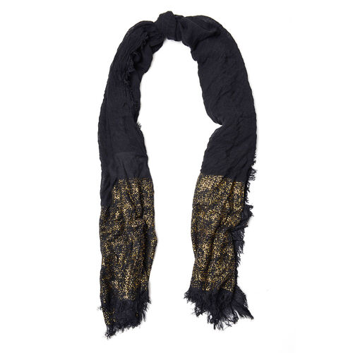Black Colour Scarf with Golden Design at Bottom (Size 195x90 Cm)