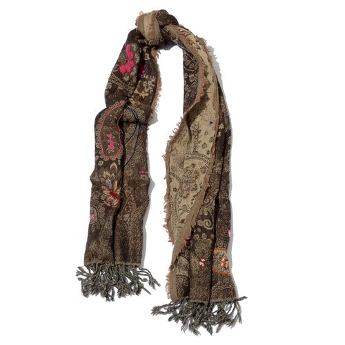 Designer Inspired 100% Merino Wool Embroidered Floral and Paisley Pattern Chocolate Colour Scarf (Size 70x180 Cm)