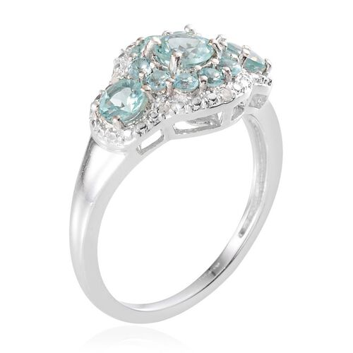 Paraibe Apatite (Rnd 0.50 Ct), Diamond Ring in Platinum Overlay Sterling Silver 1.430 Ct.