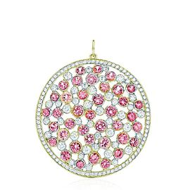 Pink Sapphire (Rnd), White Topaz Pendant in 14K Gold Overlay Sterling Silver 7.020 Ct.