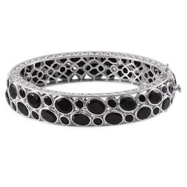 Boi Ploi Black Spinel (Ovl) Bangle (Size 7.5) in Platinum Overlay Sterling Silver 75.000 Ct.