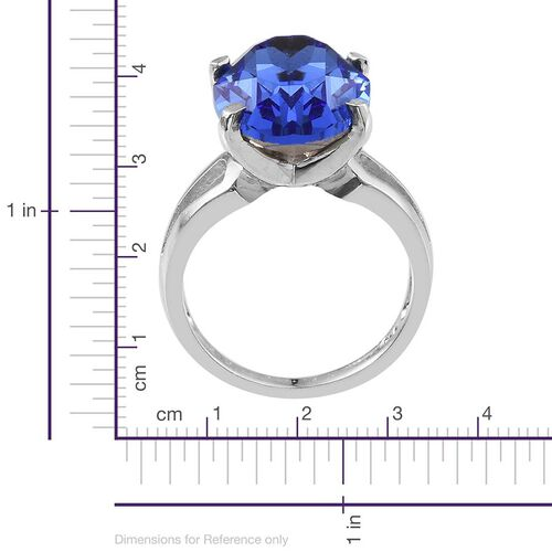 J Francis Crystal from Swarovski - Sapphire Colour Crystal (Ovl) Ring in ION Plated Platinum Bond