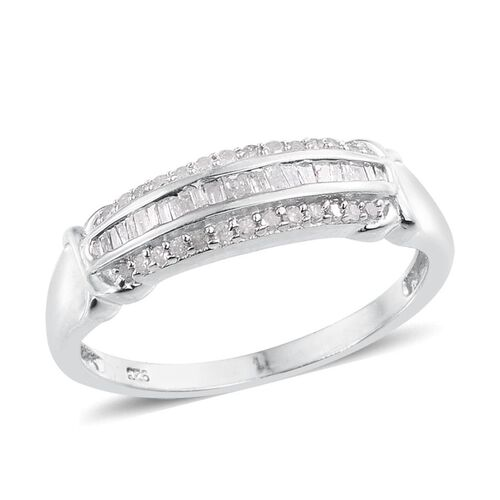 Diamond (Bgt) Ring in Platinum Overlay Sterling Silver 0.330 Ct.