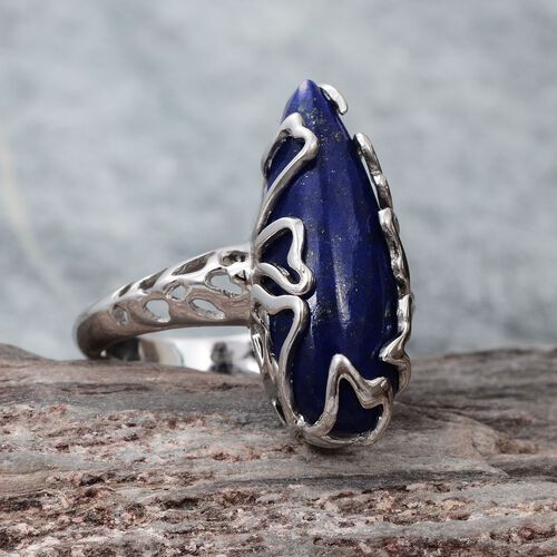 GP Lapis Lazuli (Pear 10.00 Ct), Kanchanaburi Blue Sapphire Ring in Platinum Overlay Sterling Silver 10.030 Ct.