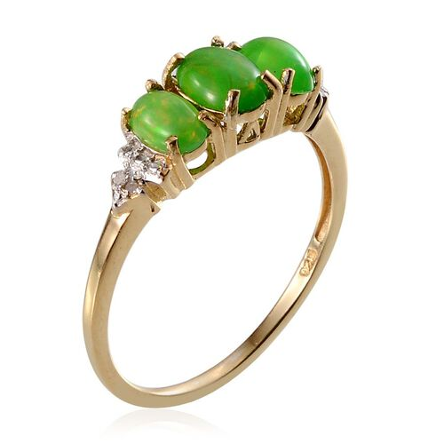 Green Ethiopian Opal (Ovl 0.50 Ct), Diamond Ring in 14K Gold Overlay Sterling Silver 1.270 Ct.
