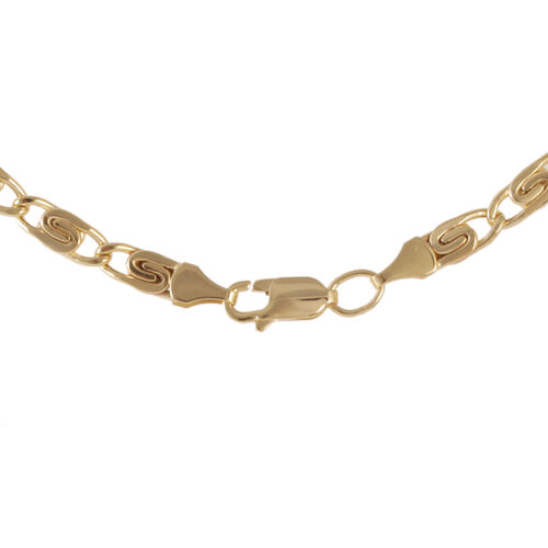 Designer Inspired - Italian Made Vicenza Collection Hammered Scroll 9K Y Gold Necklace (Size 20), Gold wt 9.40 Gms.