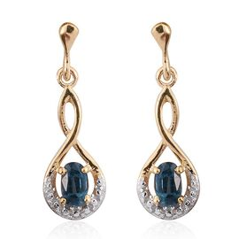 Very Rare Odisha Teal Kyanite (Ovl) Earrings (with Push Back) in 14K Gold Overlay Sterling Silver.