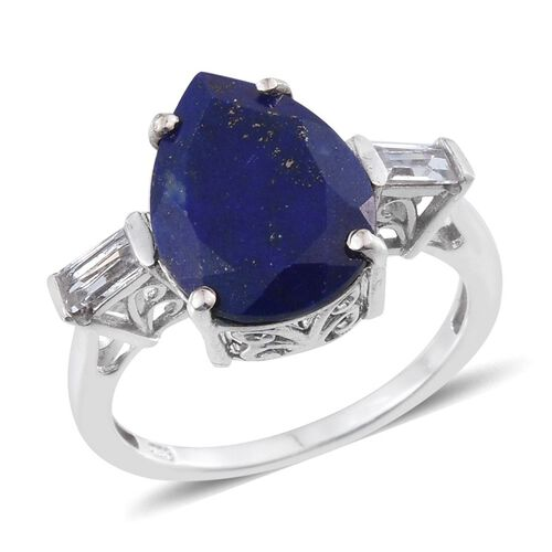 Lapis Lazuli (Pear 7.00 Ct), White Topaz Ring in Platinum Overlay Sterling Silver 7.500 Ct.
