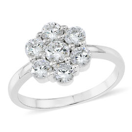 ELANZA AAA Simulated White Diamond (Rnd) 7 Stone Floral Ring in Rhodium Plated Sterling Silver