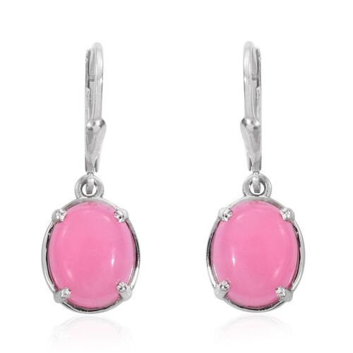 Pink Jade (Ovl) Lever Back Earrings in Platinum Overlay Sterling Silver 8.750 Ct.