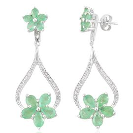 Brazilian Emerald (Pear), White Zircon Earrings (with Push Back) in Platinum Overlay Sterling Silver 5.430 Ct.