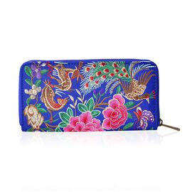 Shanghai Collection - Royal Blue Peacock and Floral  Embroidered Long Size Wallet (Size 19x10x2 Cm)