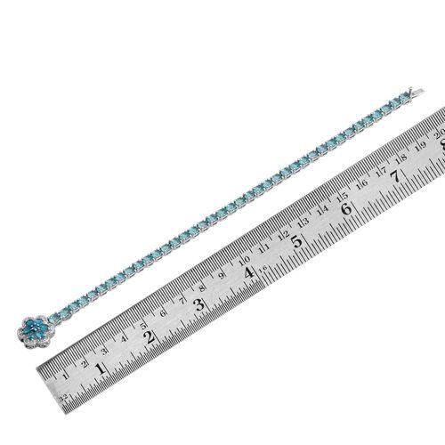 Paraiba Apatite (Ovl), Malgache Neon Apatite and White Topaz Floral Bracelet (Size 8) in Platinum Overlay Sterling Silver 13.250 Ct.