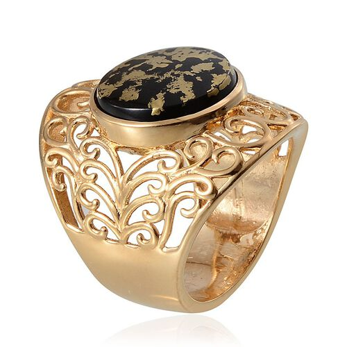 Goldenite (Rnd) Filigree Ring in 14K Gold Overlay Sterling Silver 6.750 Ct.