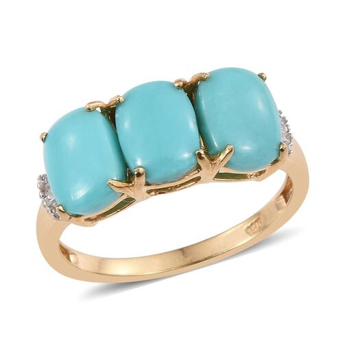 Sonoran Turquoise (Cush), Diamond Ring in 14K Gold Overlay Sterling Silver 4.050 Ct.