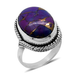Royal Bali Collection Mojave Purple Turquoise (Ovl) Solitaire Ring in Sterling Silver 9.440 Ct.