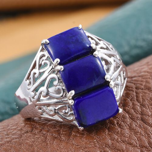 Lapis Lazuli (Oct) Trilogy Ring in Platinum Overlay Sterling Silver 4.000 Ct.