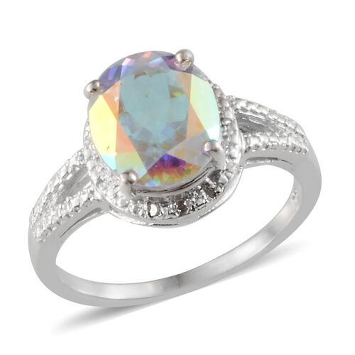 Mercury Mystic Topaz (Ovl 5.75 Ct), Diamond Ring in Platinum Overlay Sterling Silver 5.770 Ct.