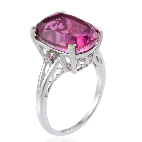 Radiant Orchid Quartz (Cush 9.00 Ct), Pink Sapphire Ring in Platinum Overlay Sterling Silver 9.100 Ct.