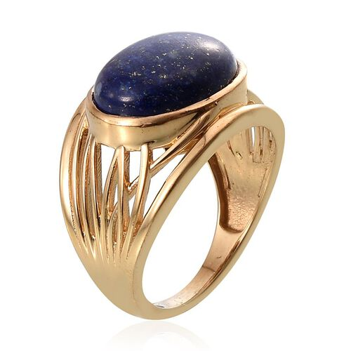 Lapis Lazuli (Ovl) Solitaire Ring in 14K Gold Overlay Sterling Silver 8.250 Ct.