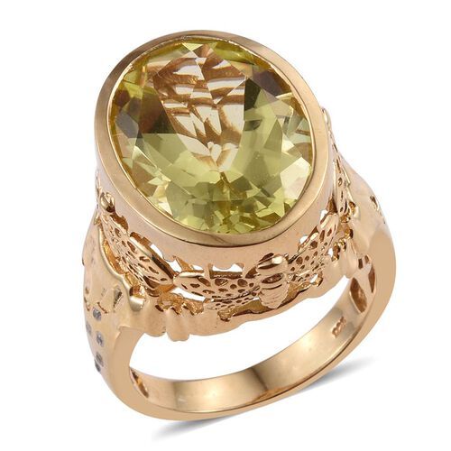 Brazilian Green Gold Quartz (Ovl 15.65 Ct), Natural Cambodian Zircon Ring in 14K Gold Overlay Sterling Silver 15.750 Ct.