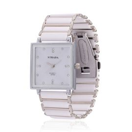 STRADA Japanese Movement White Austrian Crystal Studded White Dial Water Resistant Watch in Silver Tone with Stainless Steel Back and White Ceramic and Silver Bond Strap