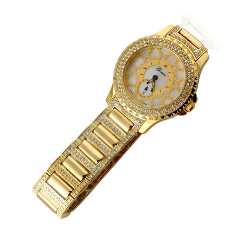 GENOA, 18K ION Plated, Mother of Pearl, Japanese Movement, Water Resistant White Austrian Crystal Watch With Designer 3 hand  0.002  Ct.