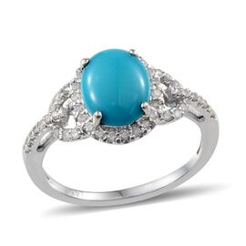 Close Out Deal 14K W Gold Arizona Sleeping Beauty Turquoise (Ovl 2.00 Ct), Diamond Ring 2.400 Ct.