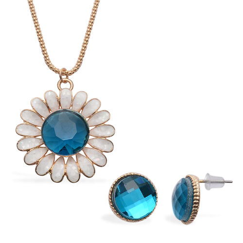 Blue Glass and White Shell Stud Necklace (Size 28 with Extension) and Earrings (With Push Back) in Gold Tone