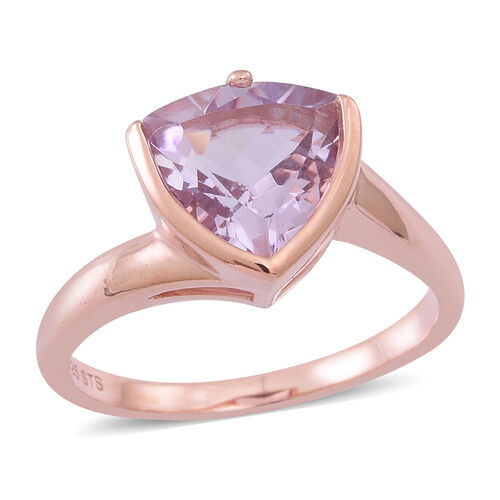 Rose De France Amethyst (Trl) Solitaire Ring in Rose Gold Overlay Sterling Silver 3.250 Ct.