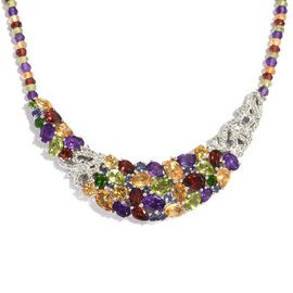 GP Hebei Peridot (Pear), Mozambique Garnet, Citrine, Amethyst and Russian Diopside Necklace (Size 20) in Platinum Overlay Sterling Silver 15.050 Ct.