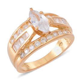ELANZA AAA Simulated Diamond (Mrq) Ring in 14K Gold Overlay Sterling Silver