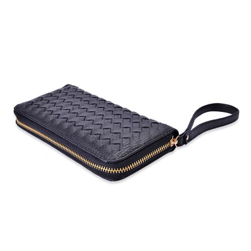 Celina Classic Black Intrecciato Textured Wallet And Cardholder Set (Size 19x9x2.5 Cm and 9x8.5x4.5 Cm)