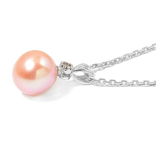 Fresh Water Peach Pearl and Diamond Pendant with Chain in Rhodium Plated Sterling Silver