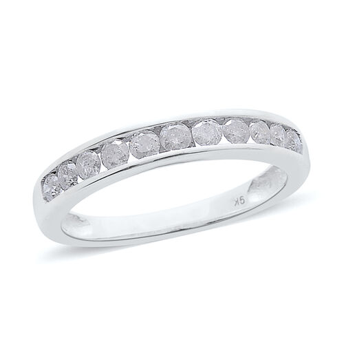 9K W Gold SGL Certified Diamond (Rnd) (I3/G-H) Half Eternity Band Ring 0.500 Ct.