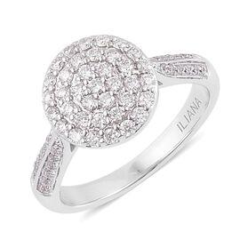 ILIANA 18K White Gold 0.50 Carat Diamond Cluster Engagement Ring IGI Certified SI G-H.