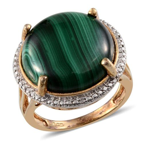 Malachite (Rnd 18.50 Ct), Diamond Ring in ION Plated 18K Y Gold Bond 18.510 Ct.